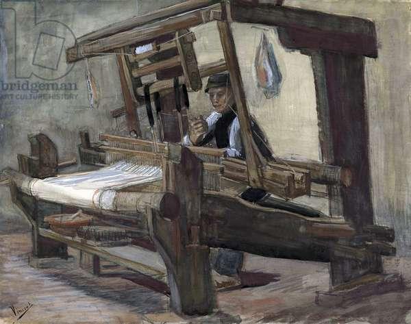 Weaver (tisserand) par Gogh, Vincent, van (1853-1890). Pen, brush, watercolour, Indian ink on paper, size : 35,7x45,1, 1884, Van Gogh Museum, Amsterdam