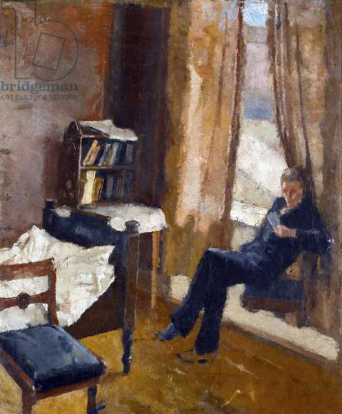 Andreas Reading - Peinture de Edvard Munch (1863-1944) - Oil on cardboard, 1882-1883, 57x48 cm - Private Collection