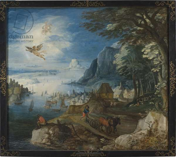 Paysage avec la chute d'Icare - Landscape with the Fall of Icarus, by Momper, Joos de, the Younger (1564-1635). Oil on wood. Dimension : 154x173 cm. Nationalmuseum Stockholm
