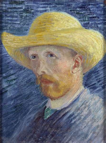 Self-Portrait with Straw Hat par Gogh, Vincent, van (1853-1890). Oil on canvas, size : 41,8x31,5, 1887, Van Gogh Museum, Amsterdam