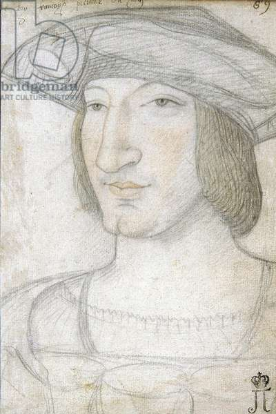 Portrait of Francis I (1494-1547), King of France par Perreal, Jean (c. 1460-1530). Black chalk and sanguine on paper, size : 19,1x13,2, First Half of 16th cen., State Hermitage, St. Petersburg