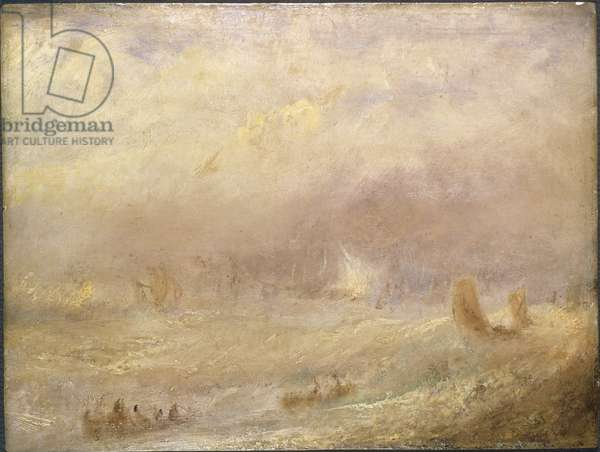 Vue de Deal - View of Deal, by Turner, Joseph Mallord William (1775-1851). Oil on paper. Dimension : 24,5x32 cm. Nationalmuseum Stockholm