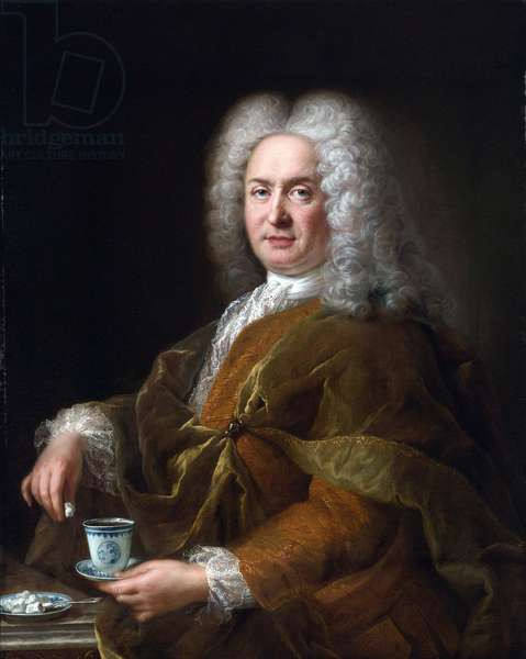Portrait of a gentleman holding a cup of chocolate - Peinture de Alexis Simon Belle (1674-1734), - Oil on canvas, 99,7x80,7 - Private Collection