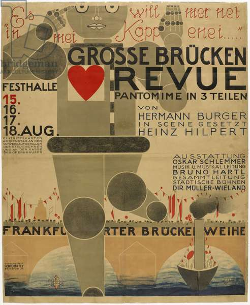 Affiche pour la fete du Pont (pantomime) - Poster for the Great bridge revue , by Schlemmer, Oskar (1888-1943). Colour lithograph, 1926. Bauhaus-Museum Weimar