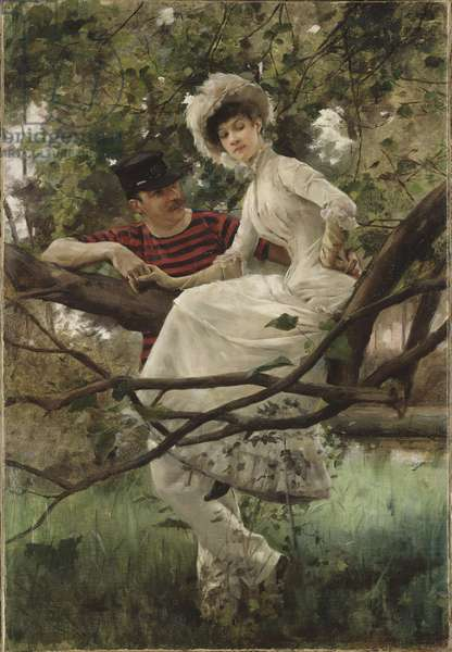 Idylle - Idyll, by Larsson, Carl (1853-1919). Oil on canvas. Dimension : 70x48 cm. Nationalmuseum Stockholm