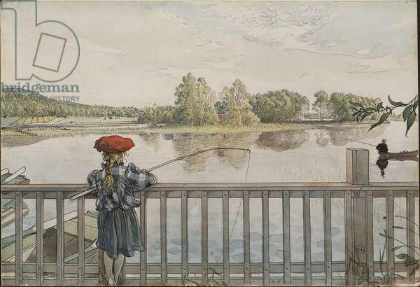 Lisbeth a la peche a la ligne - Lisbeth Angling, by Larsson, Carl (1853-1919). Watercolour and tempera on paper. Dimension : 32x43 cm. Nationalmuseum Stockholm