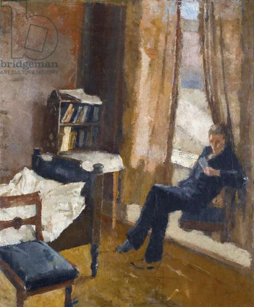 Andreas Reading par Munch, Edvard (1863-1944). Oil on cardboard, size : 57x48, c. 1882, Private Collection