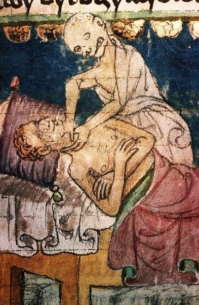 a mort etranglant un pestifere - Death Strangling a Victim of the Plague - Miniature extraite du codex Stini, Boheme, 14eme siecle - Aquarelle sue parchemin - University Library, Prague