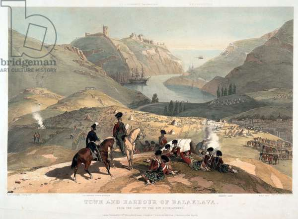 Town and harbour of Balaklava (Balaclava) from the camp of the 93rd Highlanders - O'Reilly, Montagu, Lt., British Army (active ca. 1855) - 1854 - Colour lithograph - 90,3x113 - Private Collection