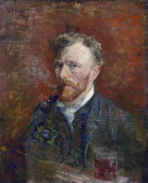 Self-Portrait with Glass par Gogh, Vincent, van (1853-1890). Oil on canvas, size : 61x50,2, 1887, Van Gogh Museum, Amsterdam