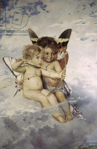 Cupidons - Cupids, by Kronberg, Julius (1850-1921). Oil on canvas, 1881. Dimension : 129x77 cm. Nationalmuseum Stockholm