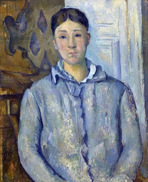 """""""""""Portrait de madame Cezanne en bleu"""""""" 1888-1890. Hortense Cezanne (1850-1922), femme de l'artiste Peinture de Paul Cezanne (1839-1906). Huile sur toile - dim 73,5x61 cm Houston, The Museum of Fine Arts, The Robert Lee Blaffer Memorial Collection, don de Sarah Campbell Blaffer"""