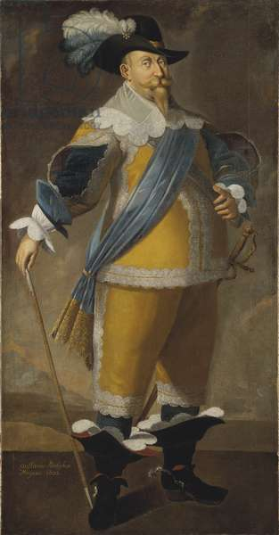 Gustave II Adolphe, dit le Grand ou le lion du Nord - Portrait of the King Gustav II Adolf of Sweden (1594-1632), Anonymous . Oil on canvas. Dimension : 204x103 cm. Nationalmuseum Stockholm