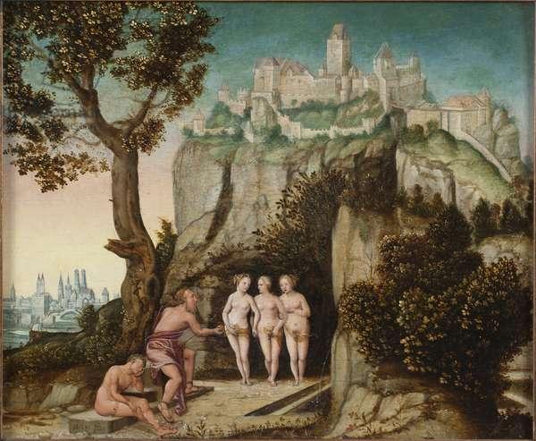 Le jugement de Paris - The Judgement of Paris, by Schoepfer, Hans, the Elder (1505-1570). Oil on wood. Dimension : 32x41 cm. Nationalmuseum Stockholm