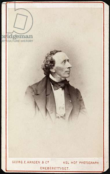 Portrait of Hans Christian Andersen (1805-1875), by Hansen, Georg Emil (1833-1891). Photograph, c. 1871. Private Collection