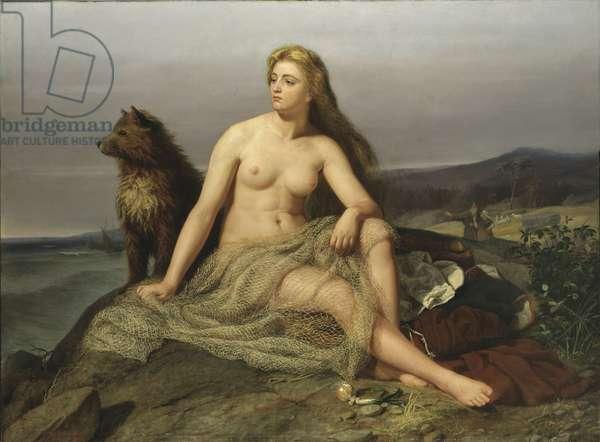 Kraka (Aslaug, Aslog), by Winge, Marten Eskil (1825-1896). Oil on canvas, 1862. Dimension : 160x217 cm. Nationalmuseum Stockholm