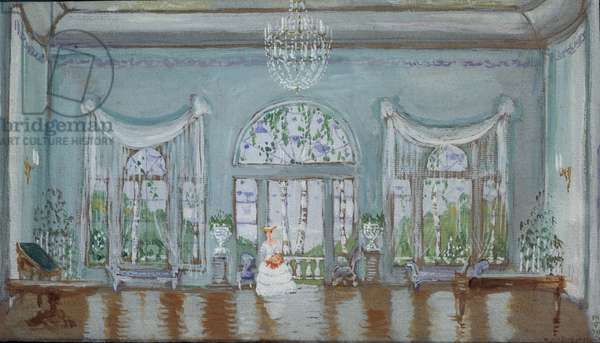 Stage design for the play 'The Thread Breaks Where it is the Weakest' by Ivan Turgenev, 1911 (w/c & gouache on paper)