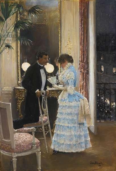 A conversation par Beraud, Jean (1849-1936). Oil on canvas, size : 55,9x39,3, , Private Collection