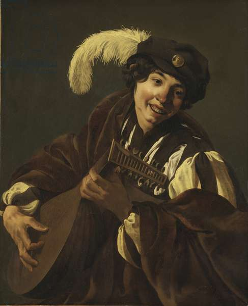 "Un garcon joue du luth (l'ouie, serie des cinq sens) - A Boy Playing the Lute (Hearing. From the Series """"The Five Senses""""), by Terbrugghen, Hendrick Jansz (1588-1629). Oil on canvas, 1620s. Dimension : 103x84 cm. Nationalmuseum Stockholm"