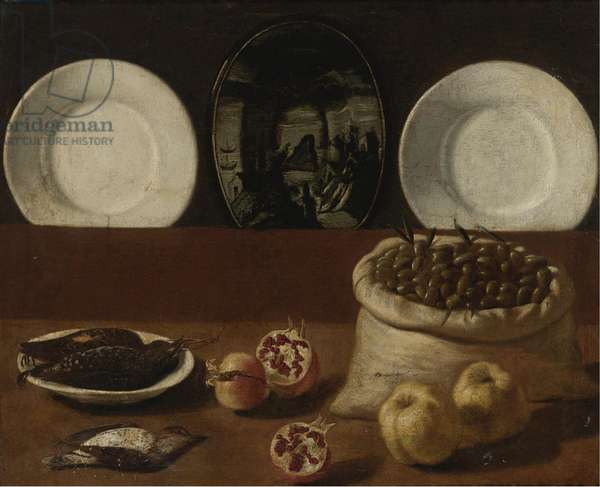"""""""""""Nature morte aux assiettes, sac d'olives, gibier, grenades et coing"""""""" (Still life with plates, a sack filled with olives, game, pomegranates, and quince) Peinture de Paolo Antonio Barbieri (1603-1649), - Oil on canvas, 76,5x94 - Private Collection"""