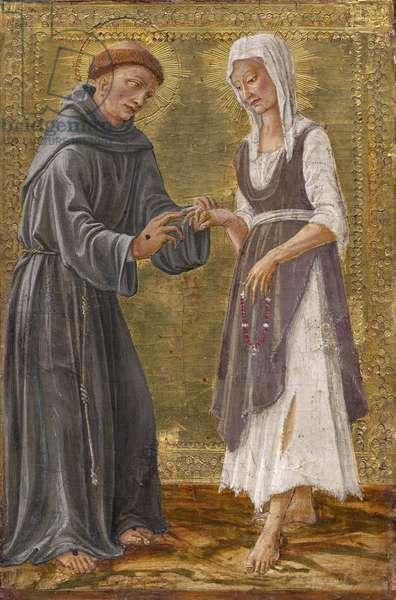 The Sacred Exchange between Saint Francis and Lady Poverty par Francesco di Giorgio Martini (1439-1501). Tempera on panel, 1480, Alte Pinakothek, Munich