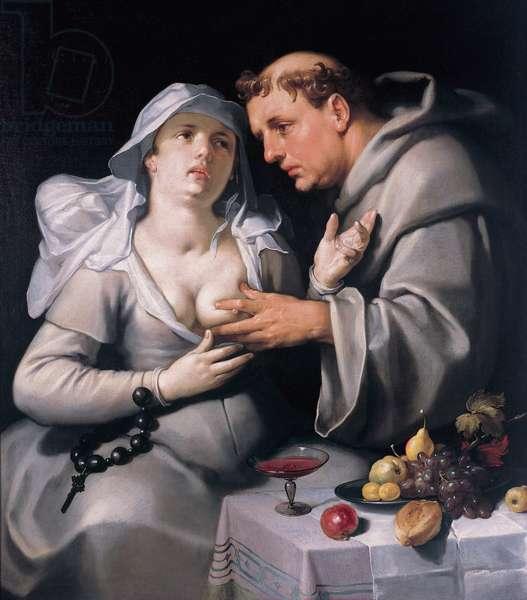 """""""""""Un moine et une religieuse"""""""" (A monk and a nun) Le religieux caresse la poitrine de la nonne - Peinture de Cornelis Cornelisz van Haarlem (1562-1638), 1591 - Oil on canvas, 116x103 Frans Hals Museum Haarlem"""