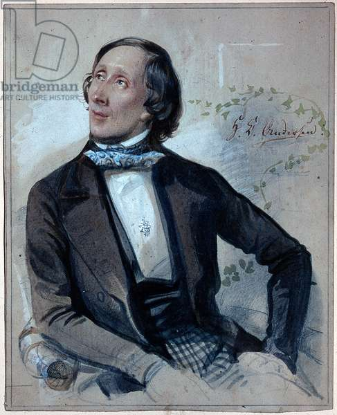 Portrait of Hans Christian Andersen (1805-1875), 1845 (watercolour and chalk on paper)