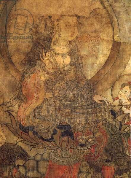 Tibetan culture : Manjushri (manjusri). Ink on silk, size : 96x60, 12th-13th century, State Hermitage, St. Petersburg