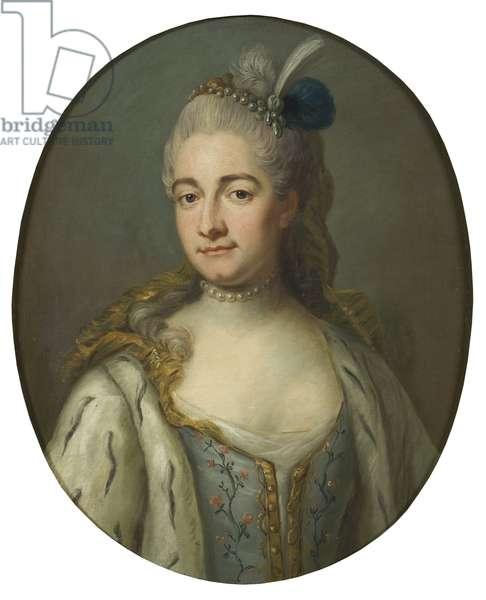 Comtesse Hedvig Catharina von Fersen, nee Hedwige Catherine de La Gardie - Portrait of countess Hedvig Catharina De la Gardie (1695-1745), nee Lillie, by Bjoerk, Jakob (1726-1793). Oil on canvas. Dimension : 68x55 cm. Nationalmuseum Stockholm