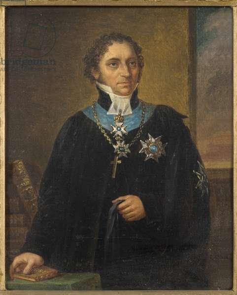 Portrait of Johan Olof Wallin (1779-1839), by Nordgren, Carl Wilhelm (1804-1857). Oil on canvas. Dimension : 18x15 cm. Nationalmuseum Stockholm