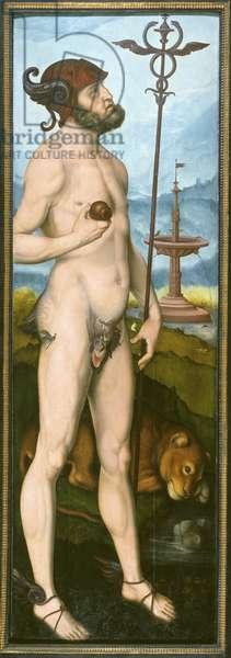 Mercure - Mercury, by Baldung (Baldung Grien), Hans (1484-1545). Oil on wood. Dimension : 194x64 cm. Nationalmuseum Stockholm