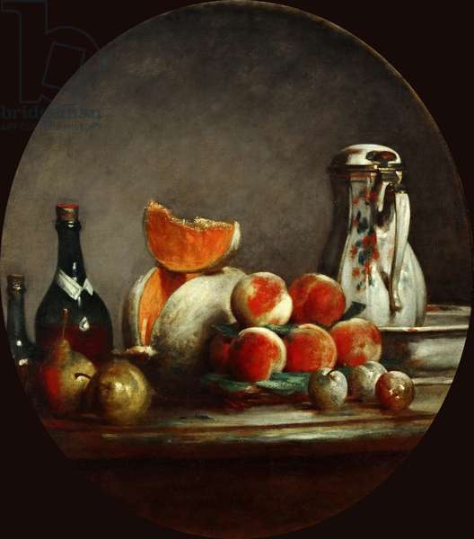 Melons, pears, peaches and plums, or The cut melon, 1760 (oil on canvas)