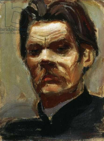 Portrait of the author Maxim Gorky (1868-1939) (Maxime Gorki) - Gallen-Kallela, Akseli (1865-1931) - 1906 - Oil on canvas - Konstmuseet Ateneum, Helsinki