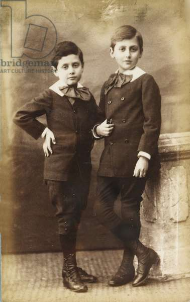 Marcel and Robert Proust (1873-1935) as children. Photo studio Hermann & Cie . Albumin Photo, c. 1882, Private Collection