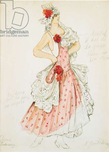 Costume design for Maurice Ravel's ballet 'Bolero', 1932 (pencil & w/c on paper)