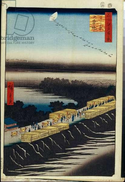 Cent vues celebres d'Edo : Nihon Embankment and Yoshiwara (One Hundred Famous Views of Edo) - Hiroshige, Utagawa (1797-1858) - 1856-1858 - Colour woodcut - State Hermitage, St. Petersburg