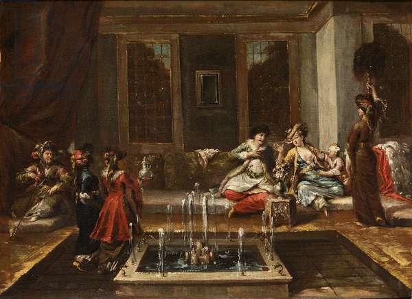Armenian interior or Orient Scene par Guardi, Giovanni Antonio (1699-1760). Oil on canvas, size : 44x61,5, 1740s, Fondazione Cini, Venezia
