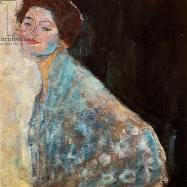 Portrait of a Lady in white (unfinished) - Klimt, Gustav (1862-1918) - 1917 - Oil on canvas - 70x70 - Oesterreichische Galerie Belvedere, Vienna