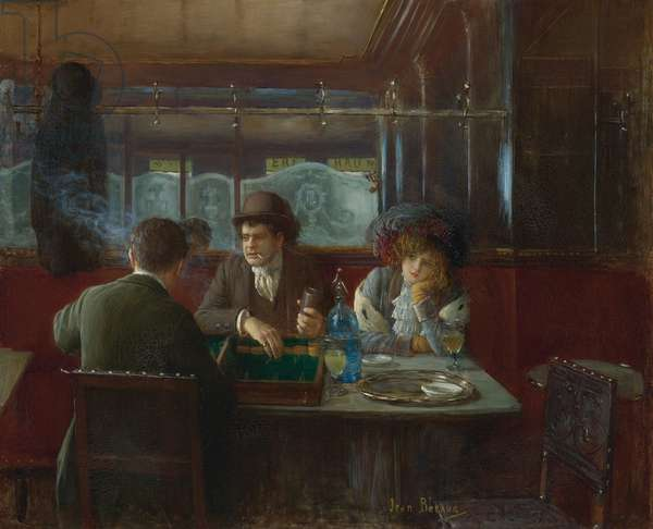 Backgammon at the Cafe par Beraud, Jean (1849-1936). Oil on canvas, size : 55,2x66, , Private Collection