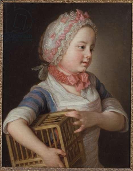 Petite fille avec un bouvreuil dans une cage - Girl with Bullfinch in a Cage, by Krafft, Per, the Elder (1724-1793). Oil on canvas, 1766. Dimension : 53x41,5 cm. Nationalmuseum Stockholm