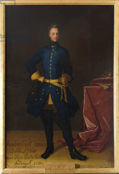 Charles XII, roi de Suede - Portrait of the King Charles XII of Sweden (1682-1718), by Krafft, David, von (1655-1724). Oil on canvas. Dimension : 249x165 cm. Nationalmuseum Stockholm