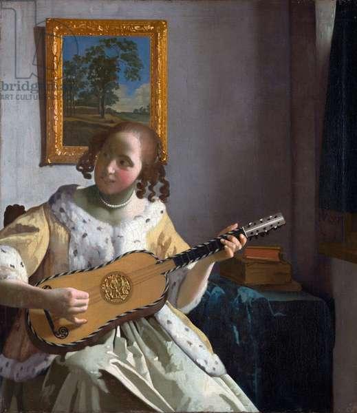 """""""""""La joueuse de guitare"""""""" (The Guitar Player) Peinture de Jan Vermeer (Johannes) (1632-1675) - 1672 - Oil on canvas - Dim 53x46,3 cm Kenwood House"""