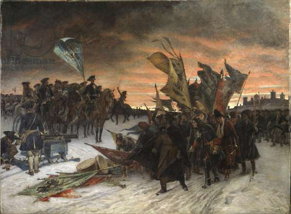 La bataille de Narva (1700) - Narva, by Cederstrom, Gustaf (1845-1933). Oil on canvas, 1905. Dimension : 295x395 cm. Nationalmuseum Stockholm