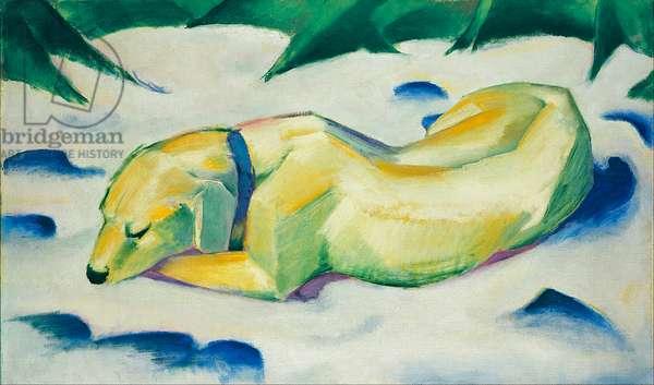 """""Chien couche dans la neige"""" (Dog Lying in the Snow) Peinture de Franz Marc (1880-1916) vers 1911 Dim 63x105 cm Staedtische Galerie im Staedelschen Kunstinstitut, Frankfurt am Main (Stadelsches Kunstinstitut, Francfort)"