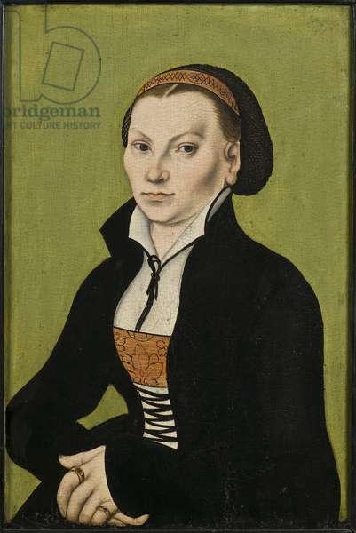 Catherine de Bore, epouse de Martin Luther - Portrait of Katharina Luther, nee Katharina von Bora (1499-1552), by Cranach, Lucas, the Elder (1472-1553). Oil on wood, 1526. Dimension : 39x26 cm. Nationalmuseum Stockholm