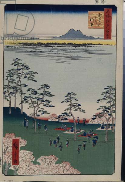 Cent vues celebres d'Edo : View to the North from Asukayama (One Hundred Famous Views of Edo) - Hiroshige, Utagawa (1797-1858) - 1856-1858 - Colour woodcut - State Hermitage, St. Petersburg