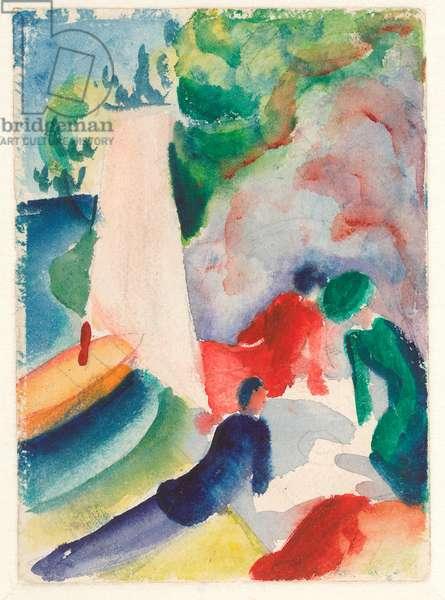 """""""""""Pique-nique sur la plage"""""""" (Pique-nique apres la voile) Aquarelle d'August Macke (1887-1914) 1913 Dim 17,6x12,2 cm Albertina, Vienne"""