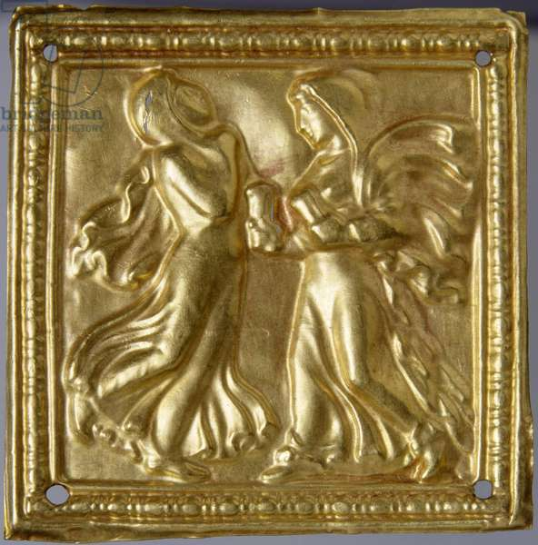Art des steppes - Scythian Art : Square plaque with dancers. Gold, size : H 4,7, 4th century BC, State Hermitage, St. Petersburg