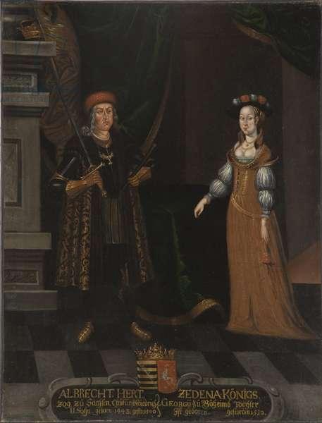 Albert III de Saxe, dit l'Intrepide et Sidonie de Boheme (Zdena de Podebrady) - Albert III (1443-1500), Duke of Saxony and Sidonie of Podebrady (1449-1510), Anonymous . Oil on canvas. Dimension : 100x79 cm. Nationalmuseum Stockholm