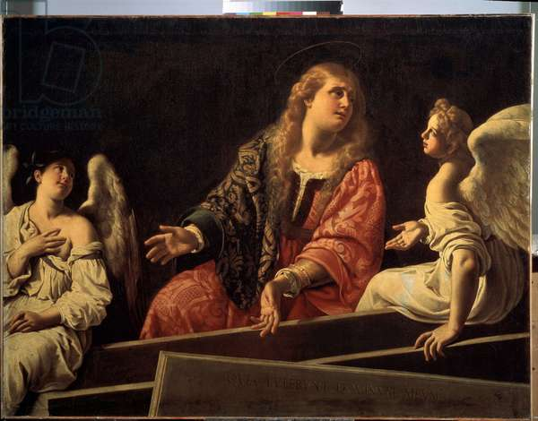Mary Magdalene at the tomb of the risen Christ with two angels, ca 1620